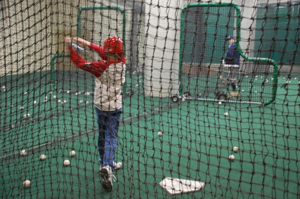 Trying out some swings in the cage