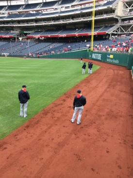 The man himself, Craig Kimbrel, stands in the outfield shagging baseballs during batting practice (Photo by Paul Fritschner)