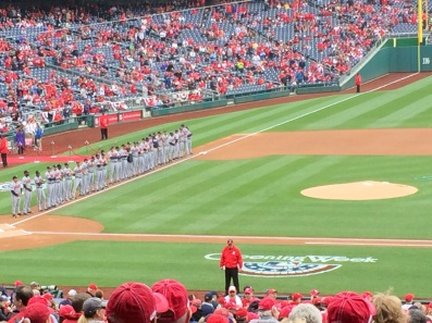 Opening Day introductions are made for the visiting Atlanta Braves